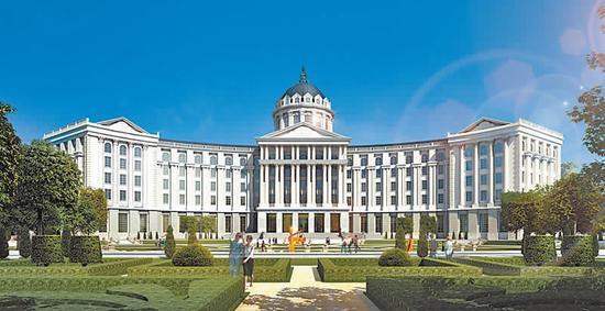 学院总体建筑风格为欧式古典风格