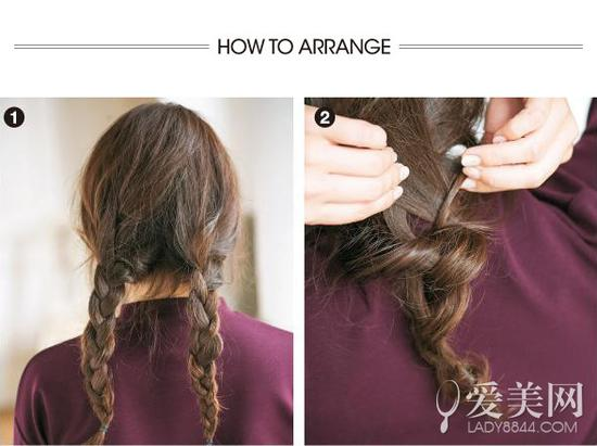 step1-2   扎发步骤:   step1:先将头发分成两部分后编成两只辫子.