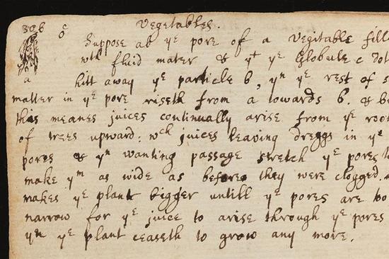 """艾萨克-牛顿爵士对植物学的兴趣并不仅限于从苹果树上坠落的苹果。根据这位物理学巨匠留下的笔记,他对植物学也有一定研究。在牛顿大学时代用过的一个笔记本中,有半页描述了植物的机能。照片展示了这个半页,夹在标题为""""哲学""""和""""电吸引&过滤""""的两页笔记之间。"""