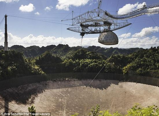 波多黎各阿雷西博天文台(照片显示)1974年发送出最大的射电望远镜信息。