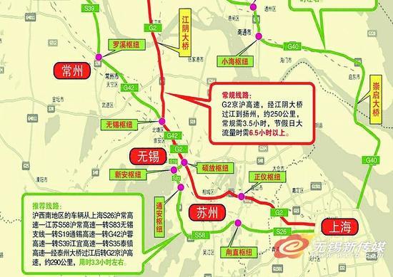 """锡沪间避开""""沪宁高速""""南部绕行图示"""