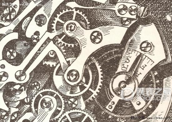手绘机芯局部图