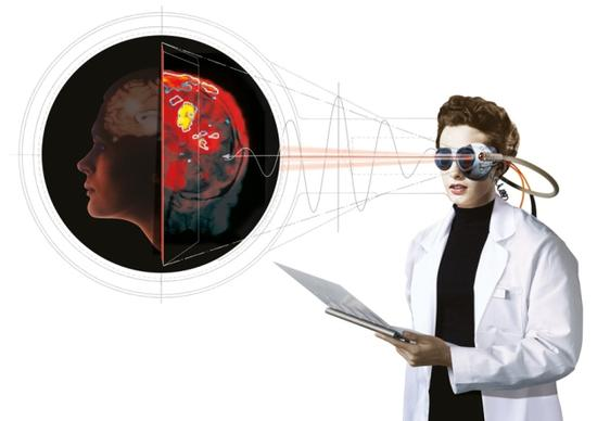 利用可见光对人脑进行成像的示意图。