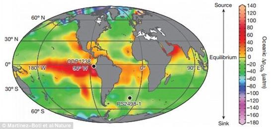 这张照片展示了获得芯样的世界海洋和地点的现代年平均二氧化碳水平。科学家研究的石化浮游生物就来自这些芯样。