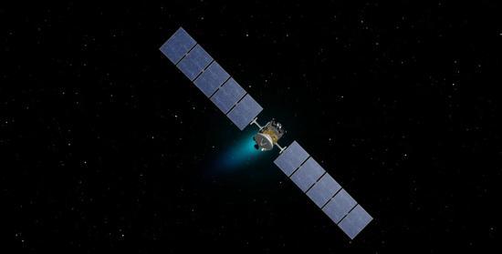 艺术示意图:太空中飞行的黎明号。