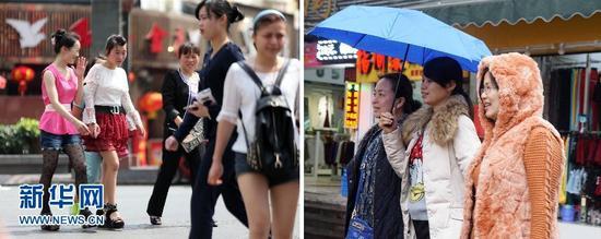 左图:2月27日,南宁气温超30℃,街头上女孩们穿起了夏装;右图:3月11日,几位包裹得严严实实的行人走在南宁街头(拼版照片)。新华社记者 周华 摄