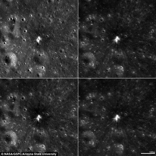 在月球上形成的一个新撞击坑,每幅图片覆盖1837英尺(约合560米)的区域。一直以来,月球便不断遭到宇宙碎片的撞击,表面坑坑洼洼。根据科学家的观测,这个物体撞击月球雨海时发生爆炸,所形成的闪光亮度是有记录以来在月表出现的任何光线的10倍。