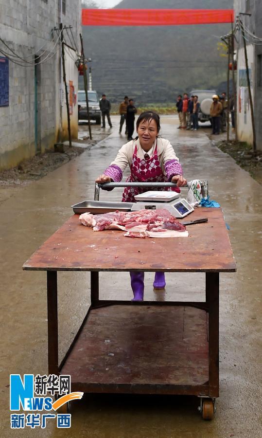在广西天等县进结镇品力村龙茶屯,村民阮荣进的爱人在村里推销猪肉(3月13日摄)