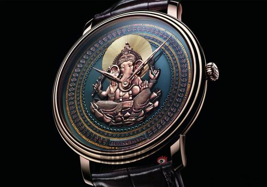 宝珀Villeret系列赤铜彩绘腕表