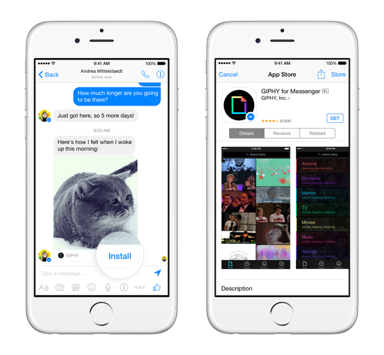 Messenger应用还可以便捷下载相关合作伙伴应用