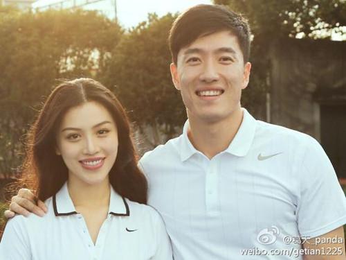 刘翔与妻子葛天。