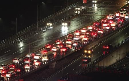 昨晚,江北区石马河,双碑大桥往石马河方向车流量大。