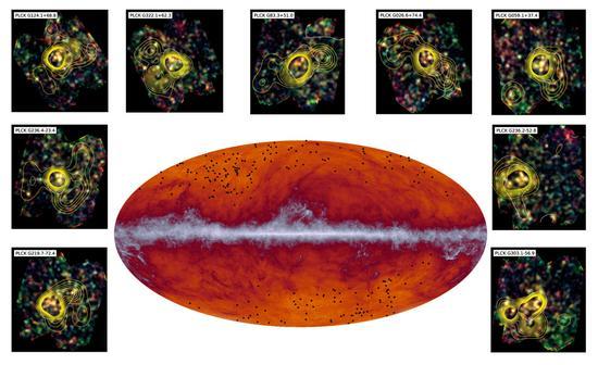 普朗克卫星眼中的宇宙。中间的白带是银河,黑点是年轻星系团。周围的插图是星系团的放大图,黄色等高线表示密度。