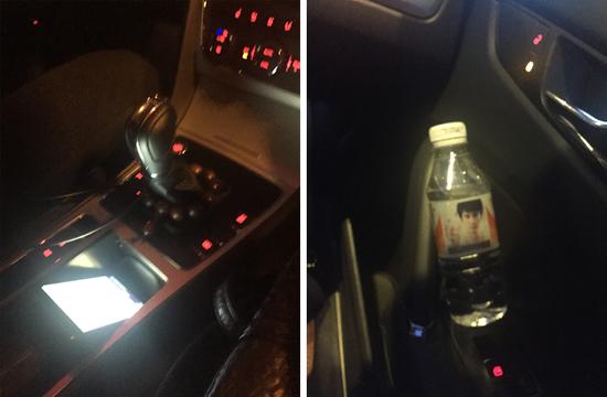 车内有充电线,安卓的,苹果的没带,有矿泉水