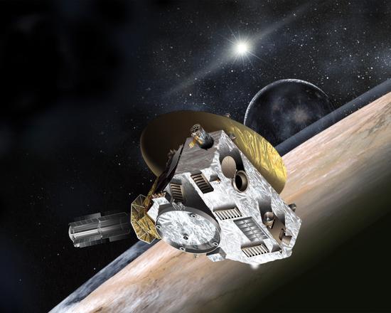 """示意图:飞往冥王星的美国宇航局""""新视野""""号飞船,现在,国际天文学联合会邀请全世界的普通民众参与进来,为""""新视野""""号即将传回的冥王星和它的卫星地表上的不同区域命名。"""
