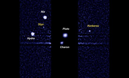 冥王星系统。冥王星拥有5颗卫星,分别是冥卫一(Charon),冥卫二(Nix),冥卫三(Hydra),冥卫四(Kerberos)以及冥卫五(Styx)。