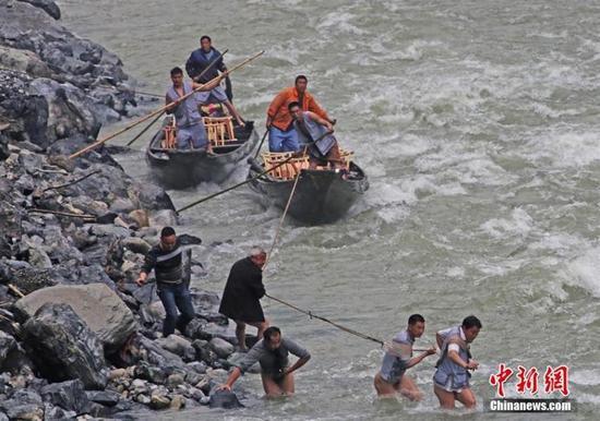 纤夫在神农溪畔牵引木船溯溪而上