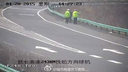 """女子高速公路跳""""广场舞"""" 高速交警劝导护送回家"""