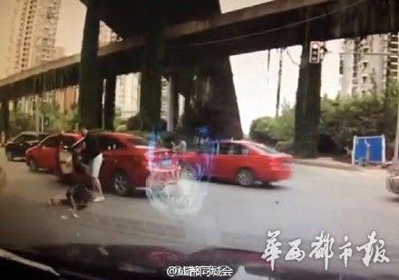 女司機變道惹怒男司機被拖下車打成腦震蕩(圖)