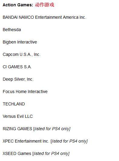目前发布的参展厂商 PS4及Xbox One独占已标注
