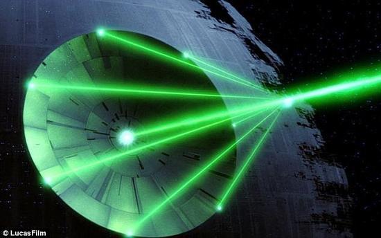 """日本科学家提议的激光系统与《星球大战》中的""""死星""""有某些相似之处。日本研究小组指出他们提议的激光系统能够在5年内清除掉地球轨道中的绝大多数厘米级太空垃级"""