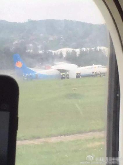 福州机场一飞机冲出跑道