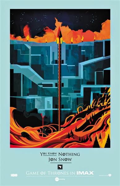 热门美剧《权力的游戏》的IMAX版海报,今年曾将第五季前两集在IMAX影院放映,票房很高。