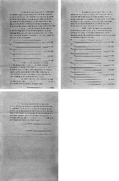 这是张学良的英文遗嘱三页文件中的第一页。在遗嘱中,张学良要按照比例分割财产、有价证券和现金并指定纽约两位律师执行遗嘱。
