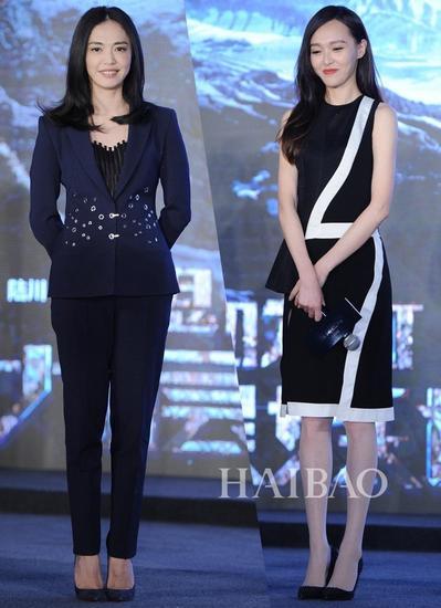 5月12日,电影《鬼吹灯之九层妖塔》上海定档发布会上,姚晨一身蓝色