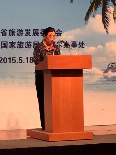 中国驻韩国大使馆公使郝晓飞女士致辞(来源:三亚旅游官方网)