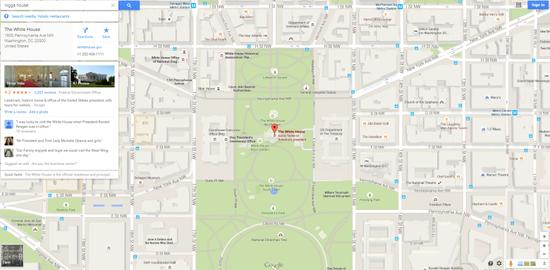谷歌地图曾将种族歧视关键词指向白宫