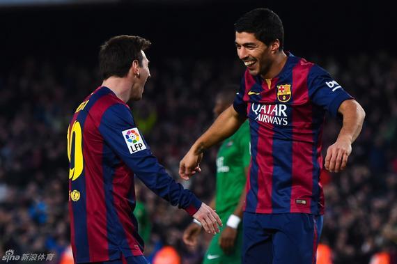 梅西和苏亚雷斯获评赛季最好