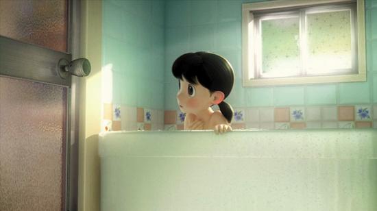 """静香在片中又一次遭遇""""洗澡尴尬""""-哆啦A梦 大雄长大了 蓝胖子也要图片"""