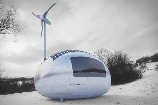 自带风力发电的胶囊房屋