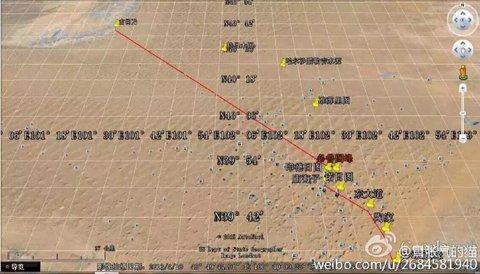 潘某发在朋友圈的穿行沙漠线路图。网络图片