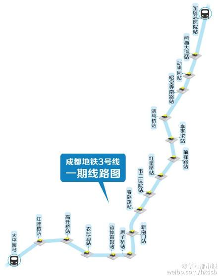 成都地铁3号线首列车6日试车成功