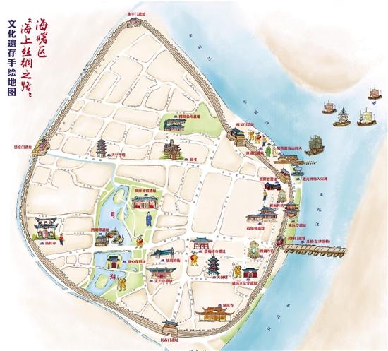 宁波首幅海丝遗产手绘地图出炉 标识20多处遗迹