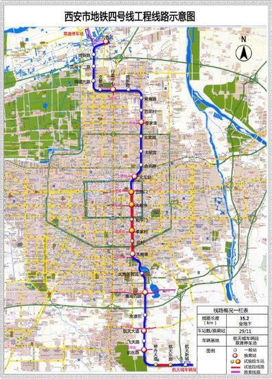 西安地铁四号线工程路线示意图