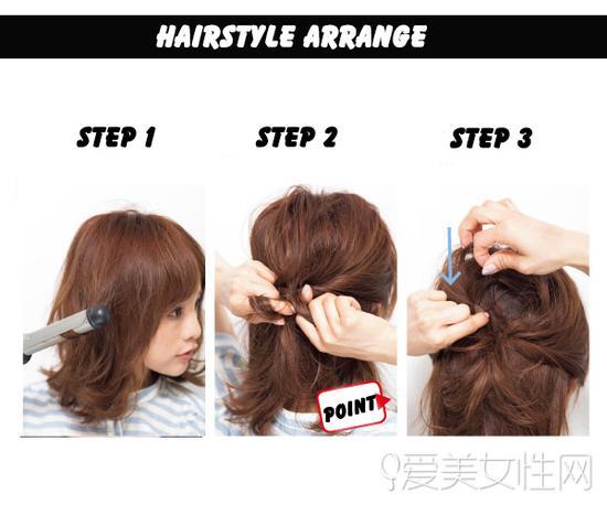 step 1:先用将头发用卷发棒向外卷曲,营造出发尾蓬松外翘效果图片