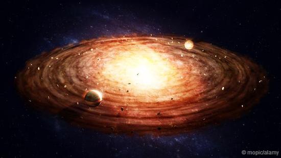 恒星和行星是从巨大的星云物质中经过塌缩冷凝而形成的
