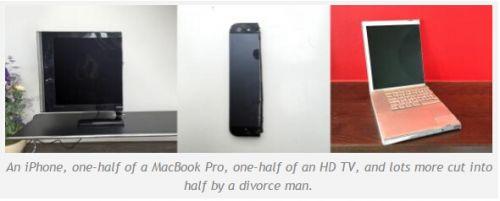 離婚男子切割iPhone 5等電子設備:一半出售(圖)