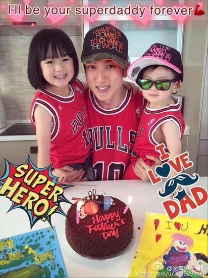 吴尊和女儿neinei、儿子max