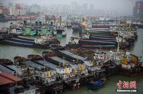 船舶在海南省海口市新港避风
