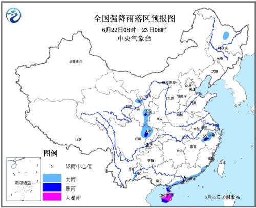 22日~23日强降雨预报图。