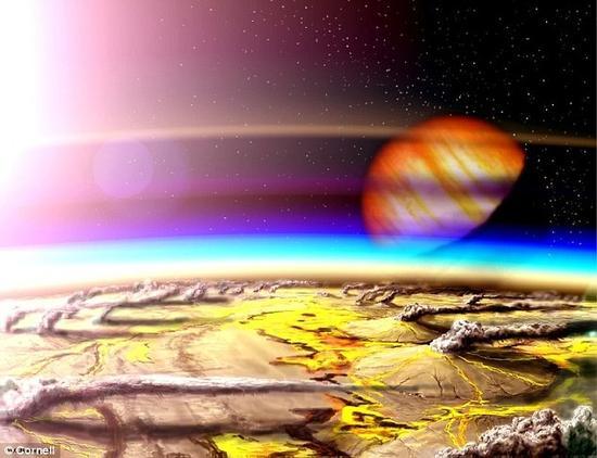 艺术示意图:年轻的地球。天文学家们近日构建了一组计算机模型,可用于模拟近期发现的一些类地行星的环境状况。这些模型将评估附近的恒星发出的紫外辐射将如何对系外行星环境的宜居性产生影响