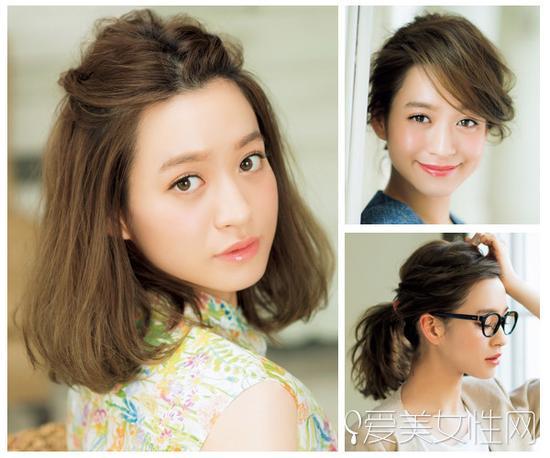 日系麻豆示范中短发型的正确扎法