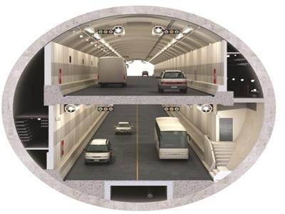 """纬三路过江隧道为""""双管双层八车道""""结构。"""