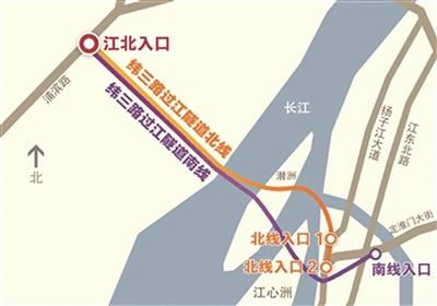 纬三路过江隧道方位示意图