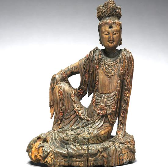 观音菩萨造像 十世纪 中国五代 彩绘木雕 规格:15.10 x 9.
