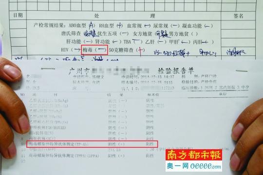 2014年12月,王梦的产检记录梅毒标注为(-)(未见异常),而在检验报告单中该项为阳性(+)。